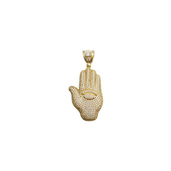 Yellow Gold Iced-Out Hand Pendant(14K)