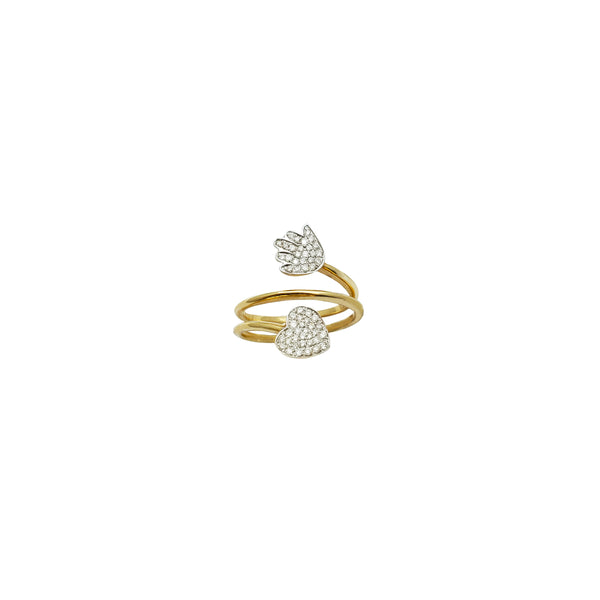 Twist Heart & Hand Diamond Ring (14K)
