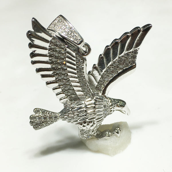 Hawk CZ Pendant (Silver) - Popular Jewelry - New York