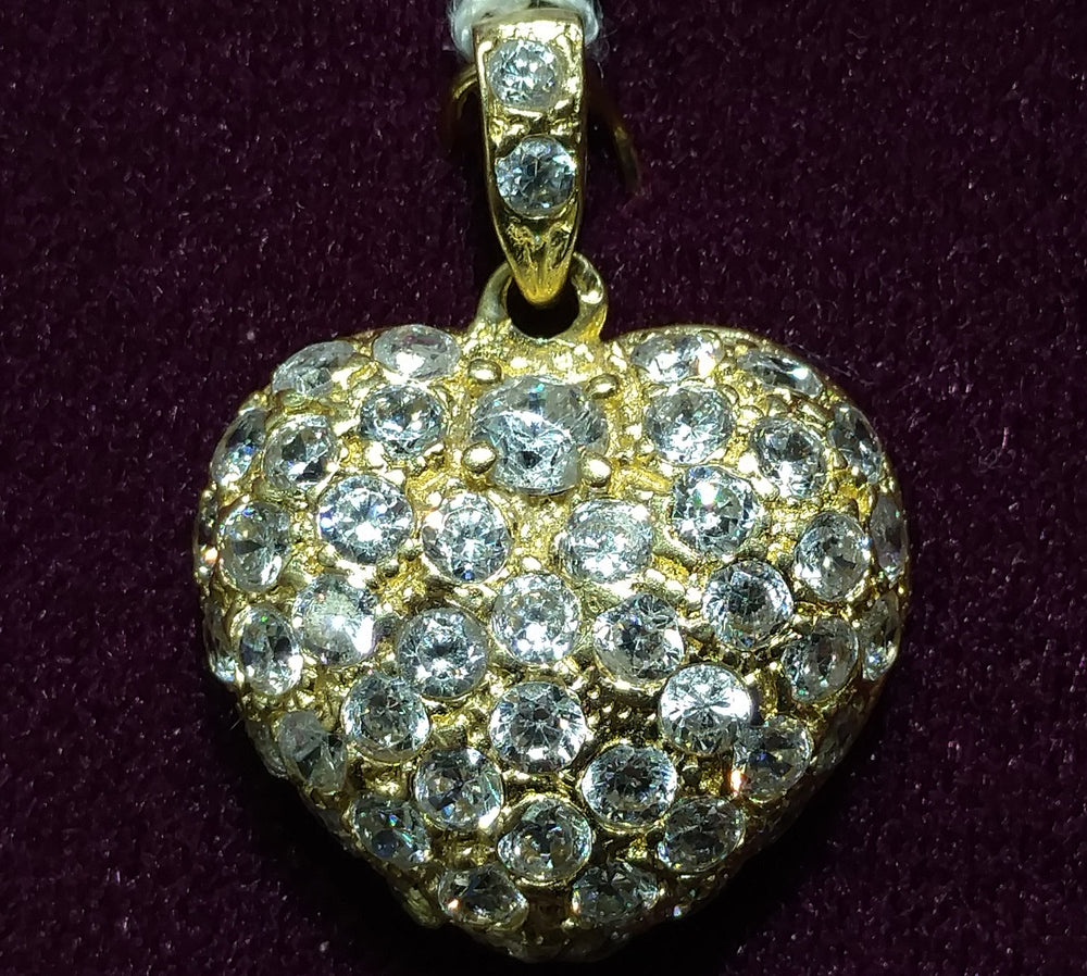 Puffy Heart Paved with Cubic Zirconia Pendant 14K - Popular Jewelry