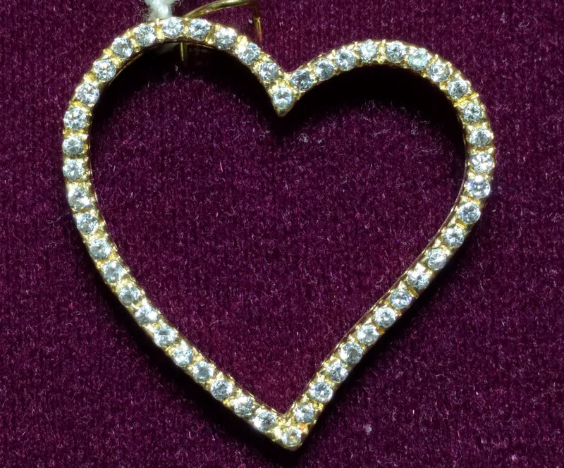 Heart Outline CZ Pendant 14K - Lucky Diamond 恆福珠寶金行 New York City 169 Canal Street 10013 Jewelry store Playboi Charlie Chinatown @luckydiamondny 2124311180