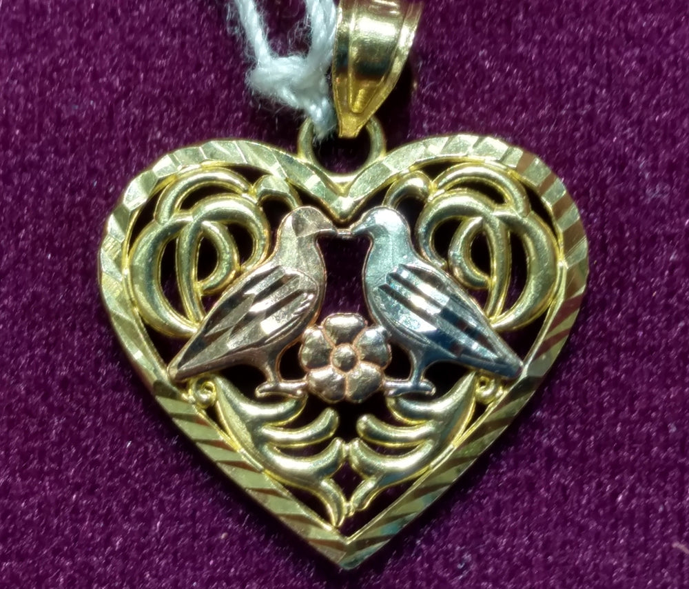 Heart Pendant 14K Tricolor Doves - Popular Jewelry