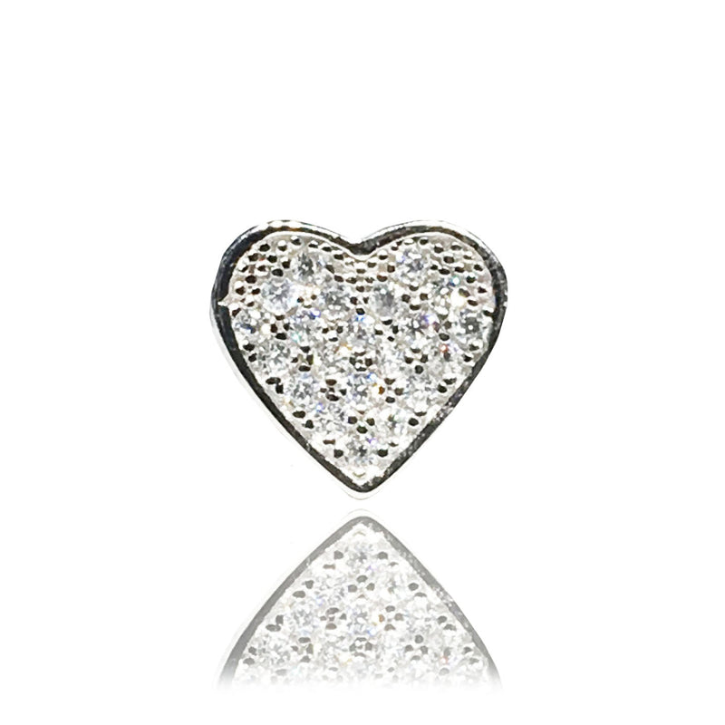 Iced-Out Heart Stud Earring (Silver)
