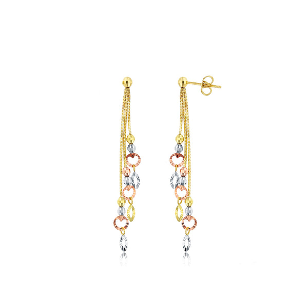 Tricolor Diamond Cut Bead Heart Dangling Earrings (14K)