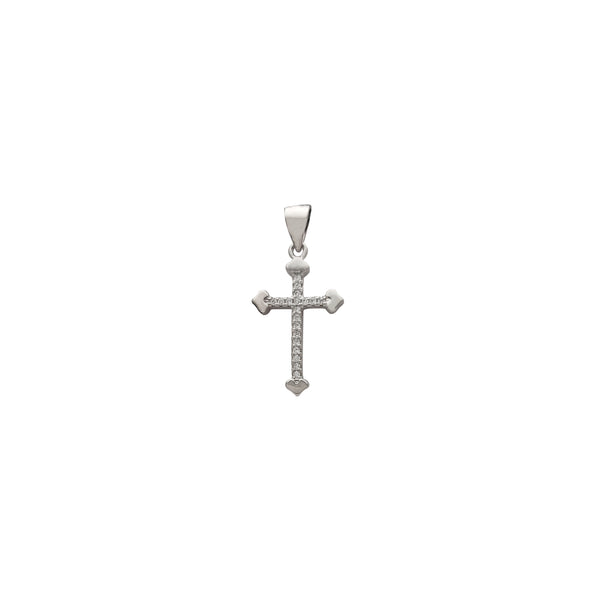 Heart Edge Pave Cz Cross Pendant (Silver)