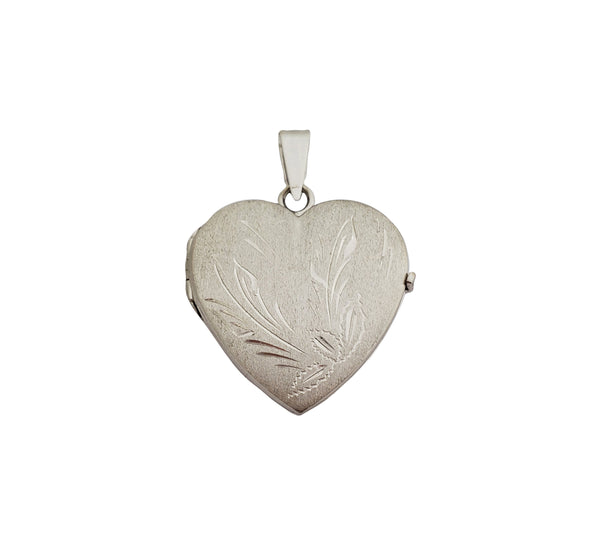 White Gold Brushed Heart Locket Pendant (14K)