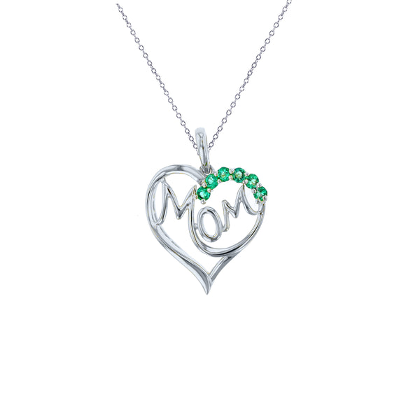 Heart & Mom Necklace (Silver)
