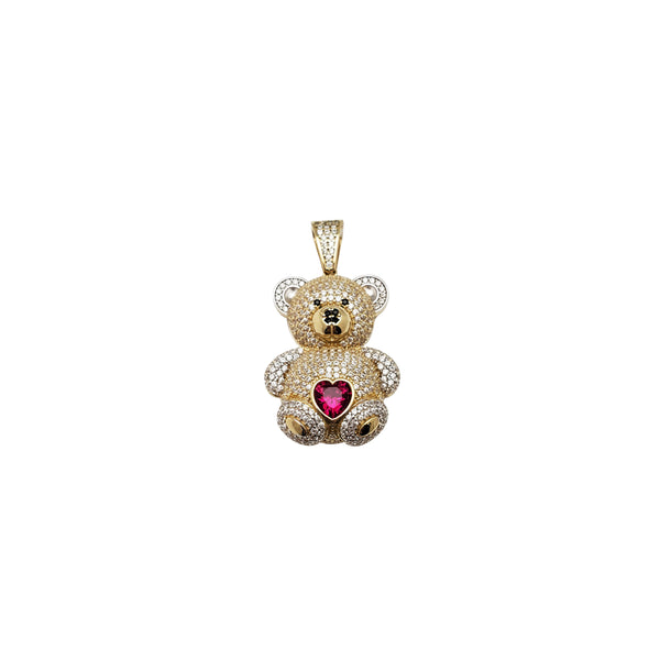 Iced-Out Teddy Bear Pendant (14K)