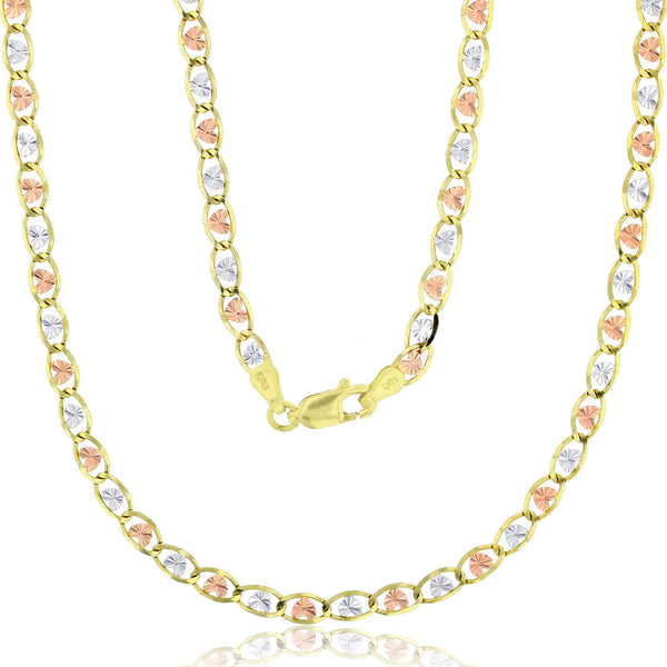 Tricolor Heart Valentino Necklace (14K)