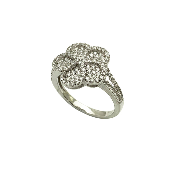 Stoneset Bauhinia Flower Cocktail Ring (Silver)