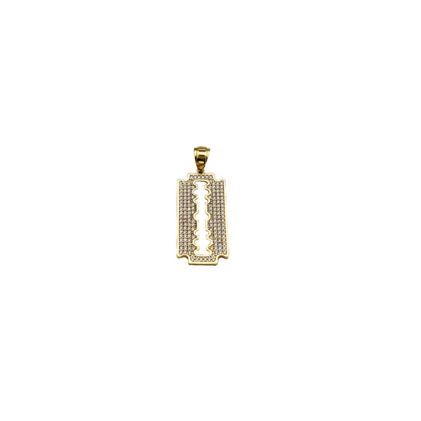 Yellow Gold CZ Razor Pendant (14K)