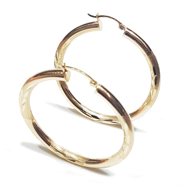 Diamond Cut Hoop earrings(14K)
