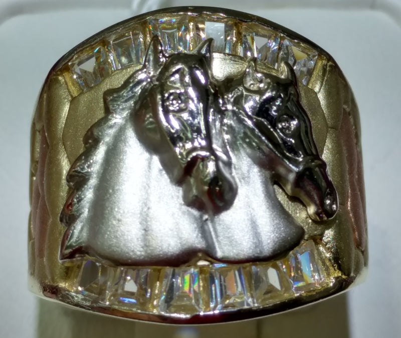 Double Horse Head Men's Ring 14K - Popular Jewelry