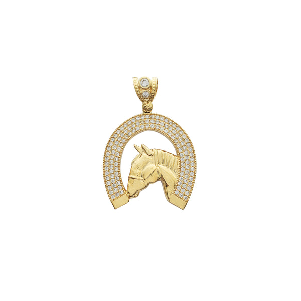 Iced-Out Horseshoe Pendant (14K)