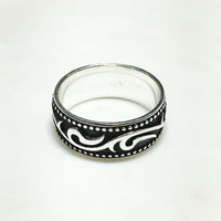 Antique-Finish Horus Eye Motif Band (Silver)