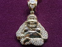 Iced Out Laughing Lotus Buddha Pendant 10 Karat Gold Cubic Zirconia 40.5 mm front view - Popular Jewelry