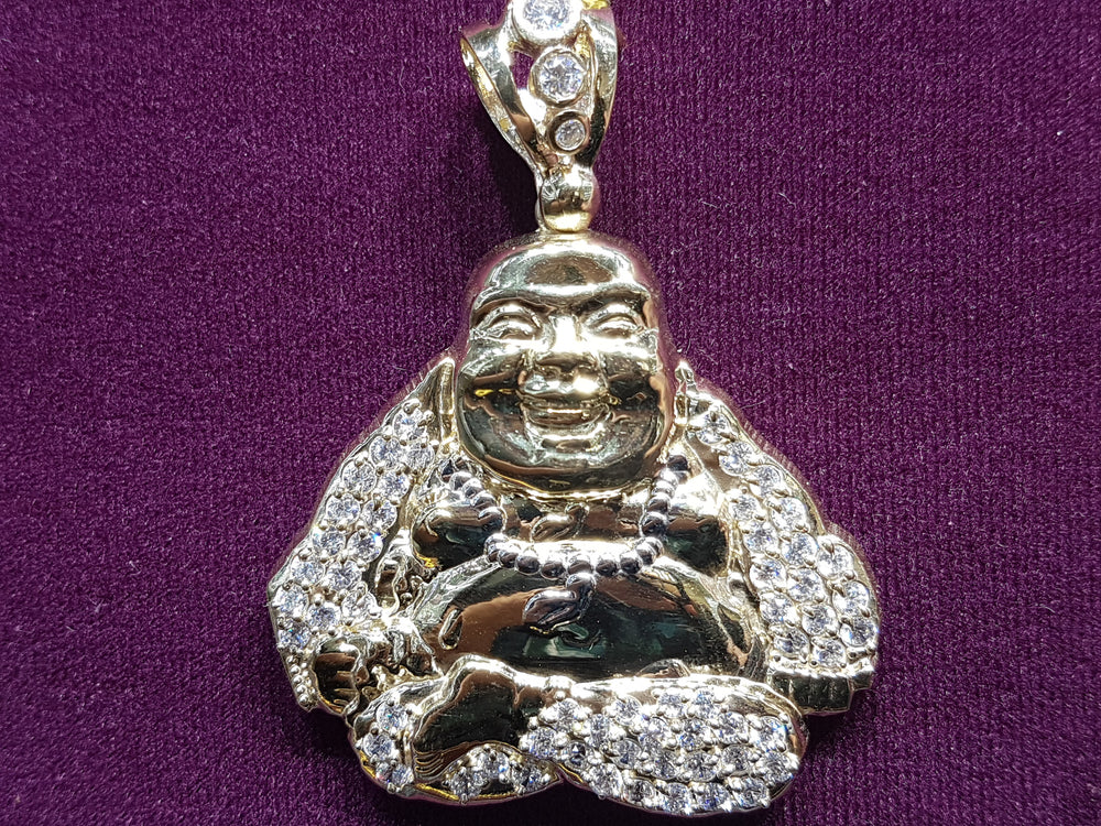 Iced Out Laughing Lotus Buddha Pendant 10 Karat Gold Cubic Zirconia 67 mm front view - Popular Jewelry