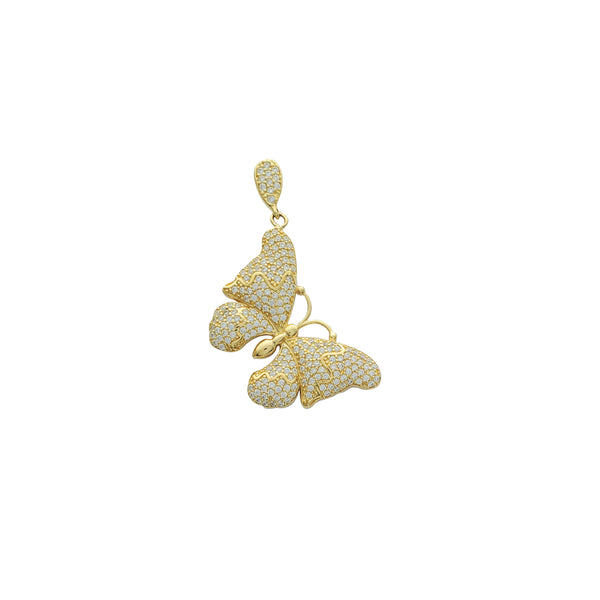 Iced-Out Butterfly Pendant (14K)