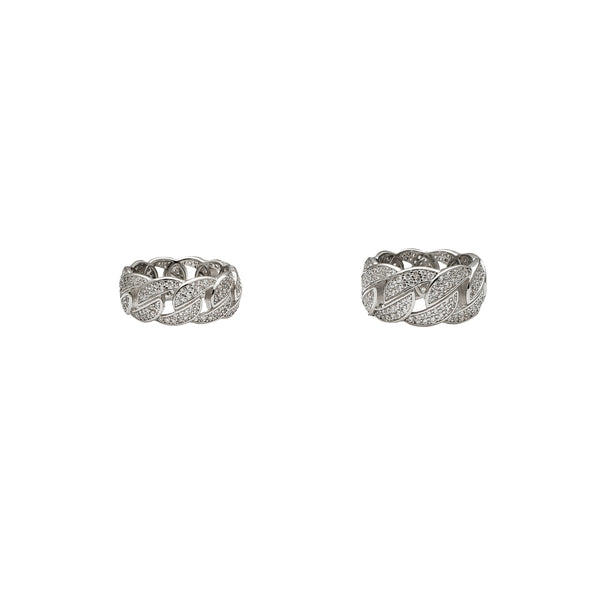 Iced-Out Cuban Link Ring (Silver)