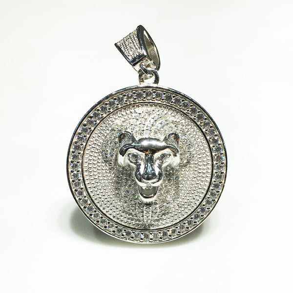 Iced-Out Lion Head Medallion (Sulver) - Popular Jewelry