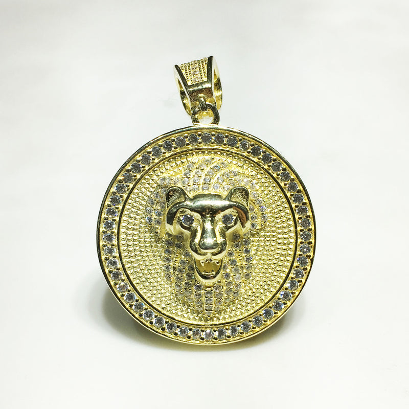 Iced-Out Lion Head Medallion (Silver) - Popular Jewelry