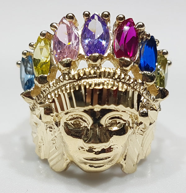 Indian Head Ring Multicolor 14K - Popular Jewelry