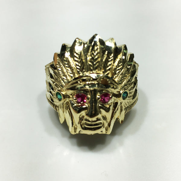 Indian Head Ring (Gemstone Eyes) 10K Yellow Gold - Popular Jewelry