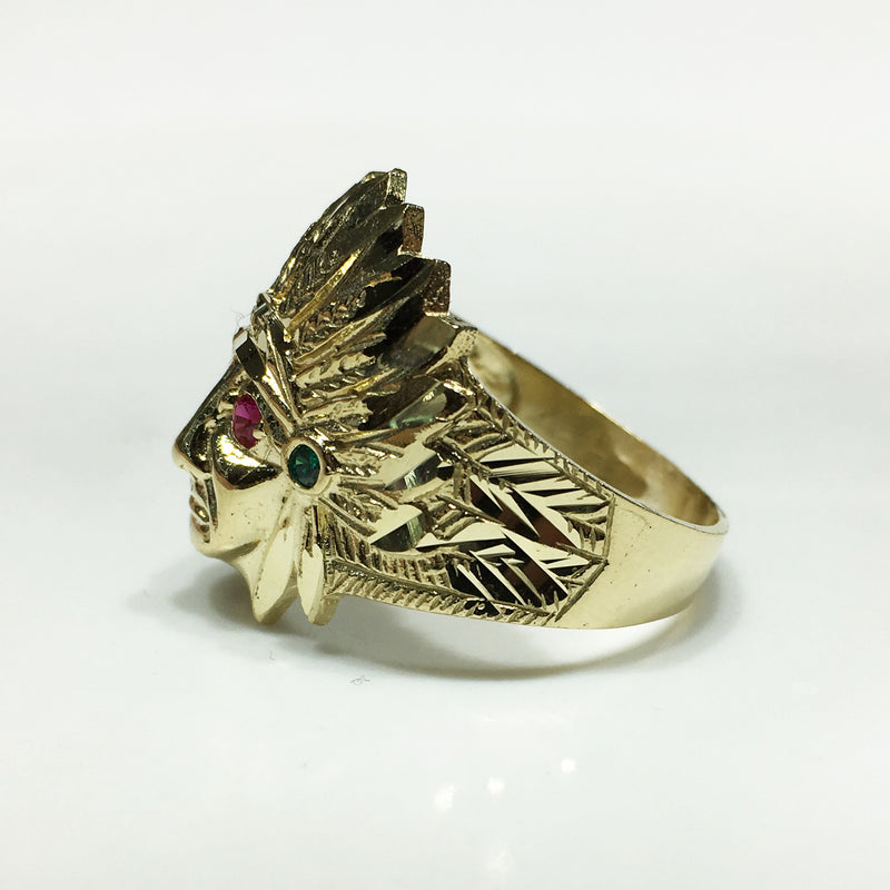 Indian Head Ring (Gemstone Eyes) 10K Yellow Gold Side View - Popular Jewelry