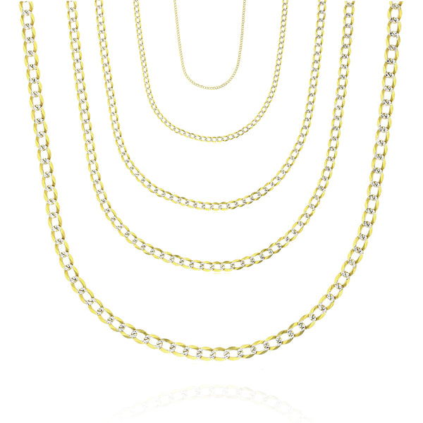 Two-Tone Solid Curb/Italian-Cuban Link Chain (14K)