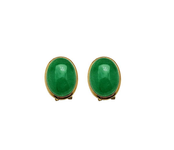 Oval Jade Omega Stud Earrings (14K)