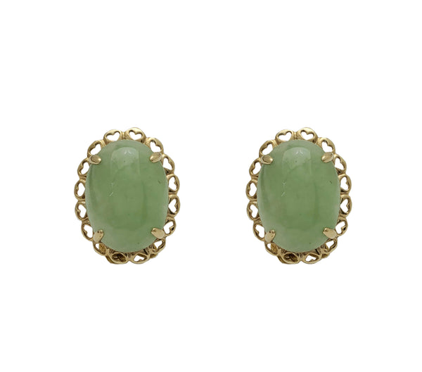Oval Jade Heart Frame Omega Stud Earrings (14K)