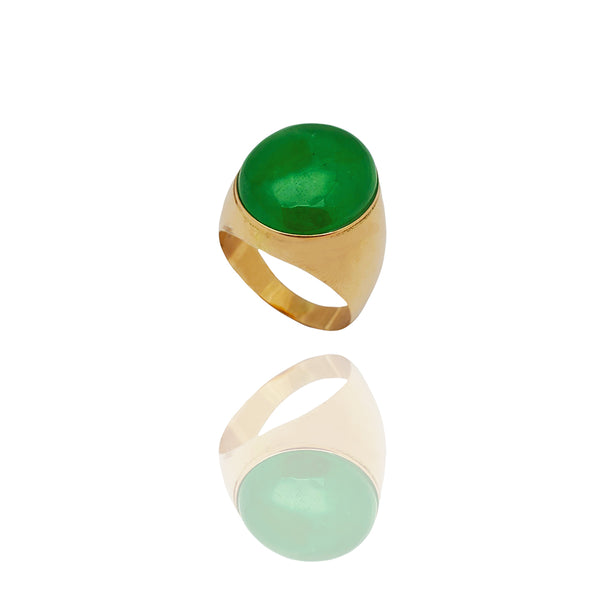 Ultra-Light Cabochon Oval Jade Ring (14K)