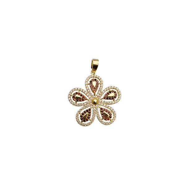 Iced-Out Jasmine Flower Pendant (14K)