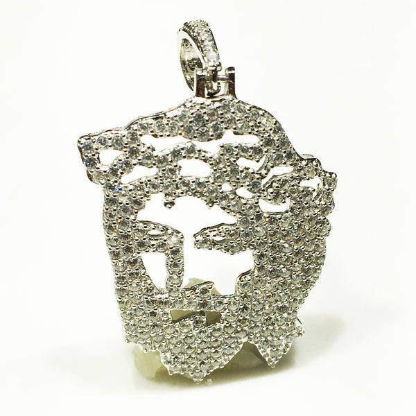 Pandantiv cu cap de Iced-Out Jesus (argintiu; alb) - Popular Jewelry New York