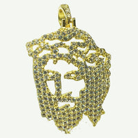Iced-Out Jesus Head Pendant (Silver; Yellow) - Popular Jewelry New York
