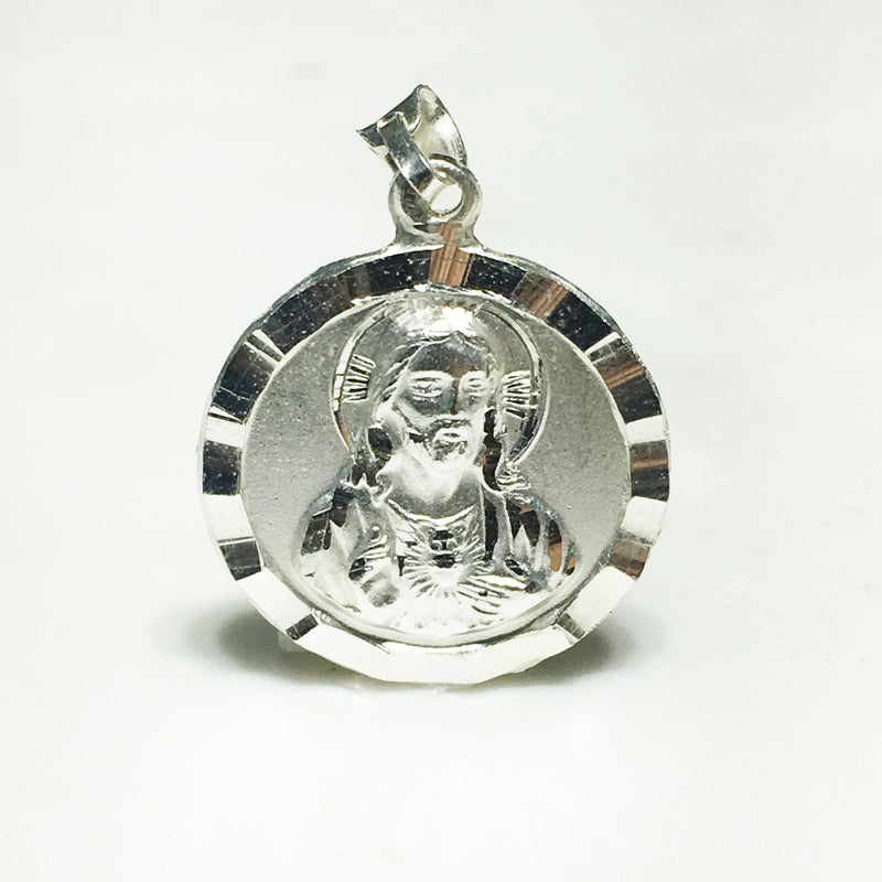 Jesus/Mary Double-Sided Medallion Pendant SIDE 1 (Silver) - Popular Jewelry