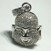 Iced Out Laughing Bouddha Head Pendant Silver - Popular Jewelry
