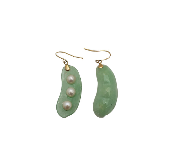 Light Green Jade & Pearl Peapod Earring (14K)