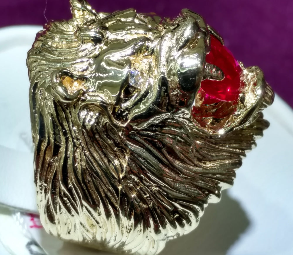 Lion Head Men's Ring 14K - Popular Jewelry