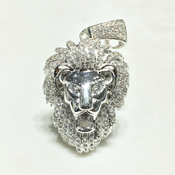 Iced-Out Lion Head Pendant (Small) Silver - Popular Jewelry