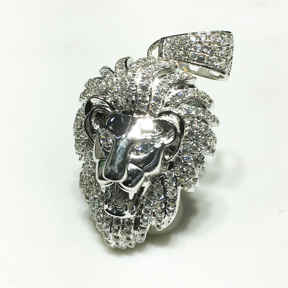 Iced-Out Lion Head Pendant (Small) Silver