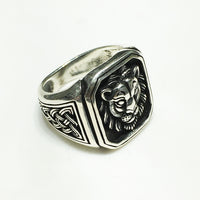 Anty-finish Framed Lion Visage Ring (Sulver) - Popular Jewelry
