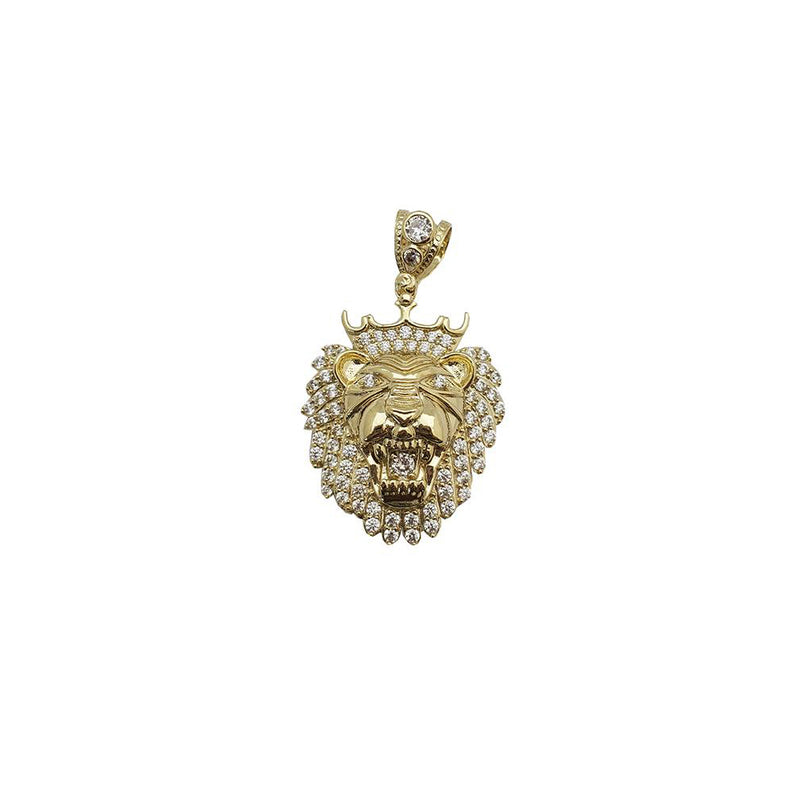 Lion Head Crown Face Pendant (10K)