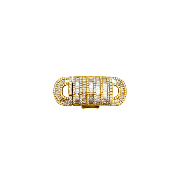 Baguette & Round Diamond Rectangle Clasp (14K)