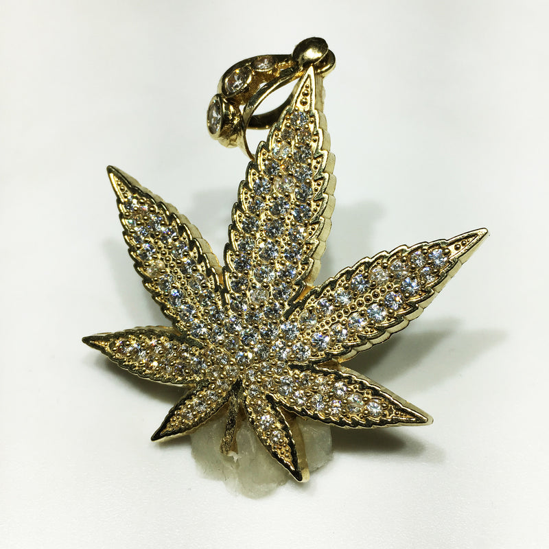 Iced-Out Marijuana Leaf Pendant 10K - Popular Jewelry