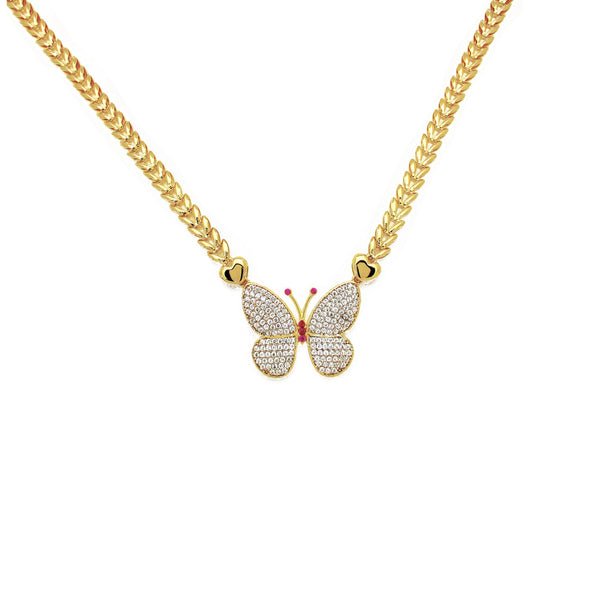 Yellow Gold CZ Butterfly Fancy Necklace (14K)