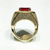 Men's Iced-Out Red Stone Ring 14K Cubic Zirconia Ruby - Popular Jewelry