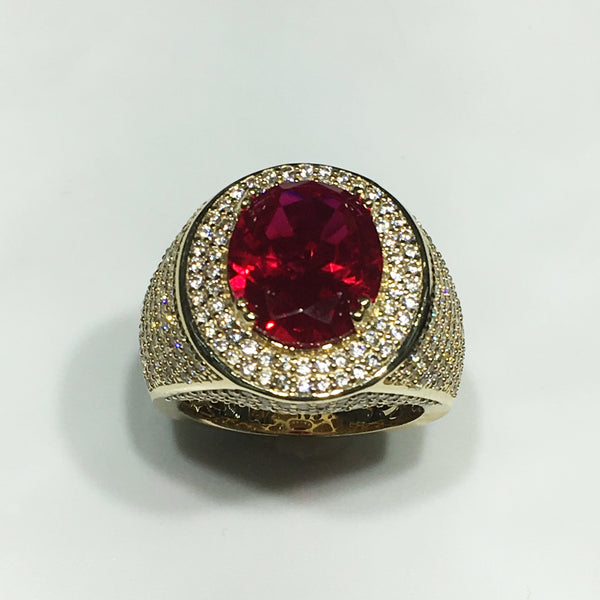 Men S Iced Out Red Stone Ring 14k Popular Jewelry