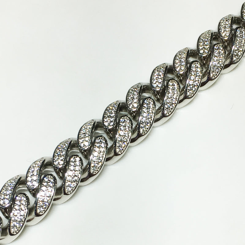 Iced-Out Miami-Cuban Bracelet (Silver)