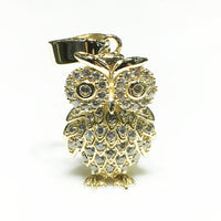 Iced-Out Great Horned Owl Pendant 14K - Popular Jewelry